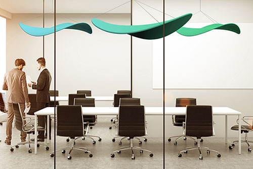 Spring Green colored, Stratus cloud shaped, acoustical sound dampening ceiling sculpture by Rainier industries